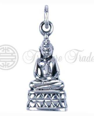 3-dimensionale sterling ziveren hanger in de vorm van een Boeddha in lotuszit, gezeten op troon
