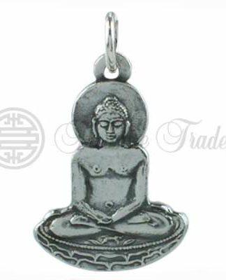 Sterling zilveren hanger in de vorm van een Boeddha in zittend op een lotustroon