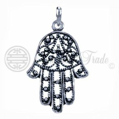 Sterling zilveren hanger in de vorm van Fatima's hand, een Islamitische geluksbrenger