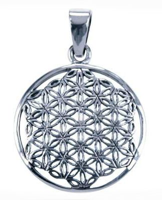 Open sterling zilveren hanger met het flower of life symbool