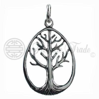 Sterling zilveren ovalen open hanger in de vorm van de levensboom