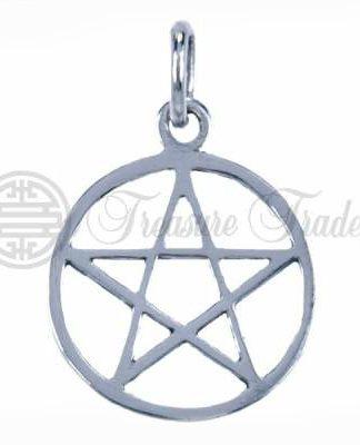 Mooie open sterling zilveren hanger, in een prettig formaat, met het pentagram symbool