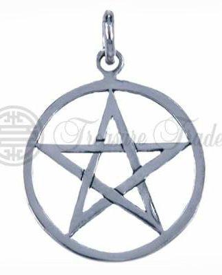 Mooie grote open sterling zilveren hanger met het pentagram symbool