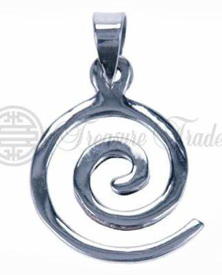 Open sterling zilveren hanger in de vorm van een spiraal