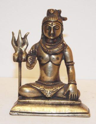 Bronzen beeldje (11cm) van een zittende Shiva