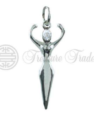 Sterling zilveren hanger in de vorm van de Godin, de Keltische variant van de vrouwelijke, goddelijke energie en kracht