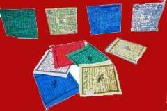 Koord met 5 Tibetaanse gebedsvlaggetjes van 10 x 11 centimeter