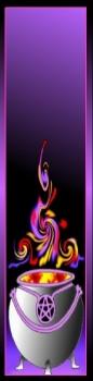 Kleurrijke boekenlegger met een afbeelding van een dampende heksenketel, geplastificeerd met paarse kwast
