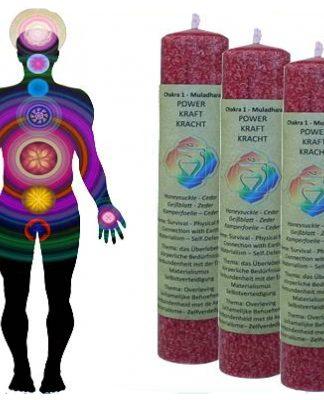 Geurkaars die werkt op het eerste Chakra (rood): KRACHT
