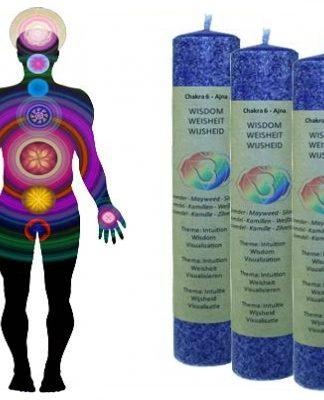 Geurkaars werkt op het zevende chakra: (indigo): wijsheid