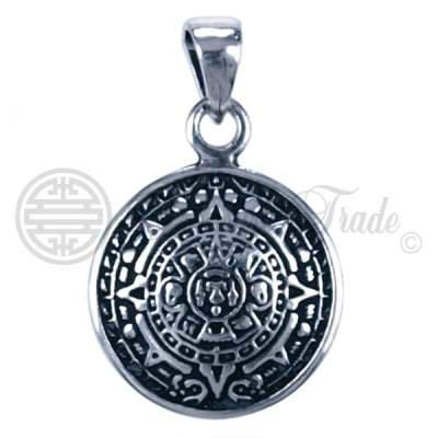 Mooie ronde sterling zilveren hanger in de vorm van de Azteken zonnekalender