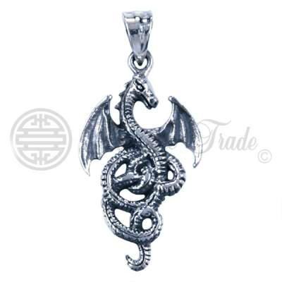 Sterling zilveren hanger in de vorm van een draak