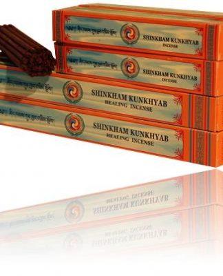 Pakjes tibetaanse Shingkham Kunkhyab genezende kruiden wierook.