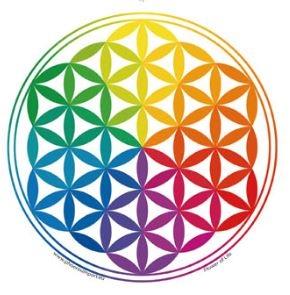 Transparante raamsticker met het Flower of Life-symbool (bloem des levens) in Regenboog-kleuren