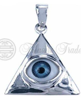 Sterling zilveren hanger in de vorm van een driehoek met in het midden het alziend oog in blauw, het Egyptisch symbool voor de zonnegod Horus