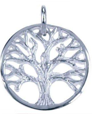 Sterling zilveren hanger in de vorm van de levensboom in een cirkel