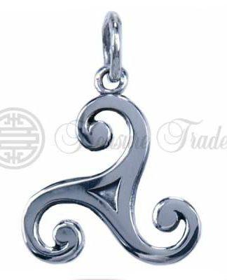 Open sterling zilveren hanger in de vorm van het Keltisch zonnerad, de Triskel