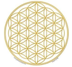 Transparante raamsticker met een Gouden Flower of Life-symbool (bloem des levens)